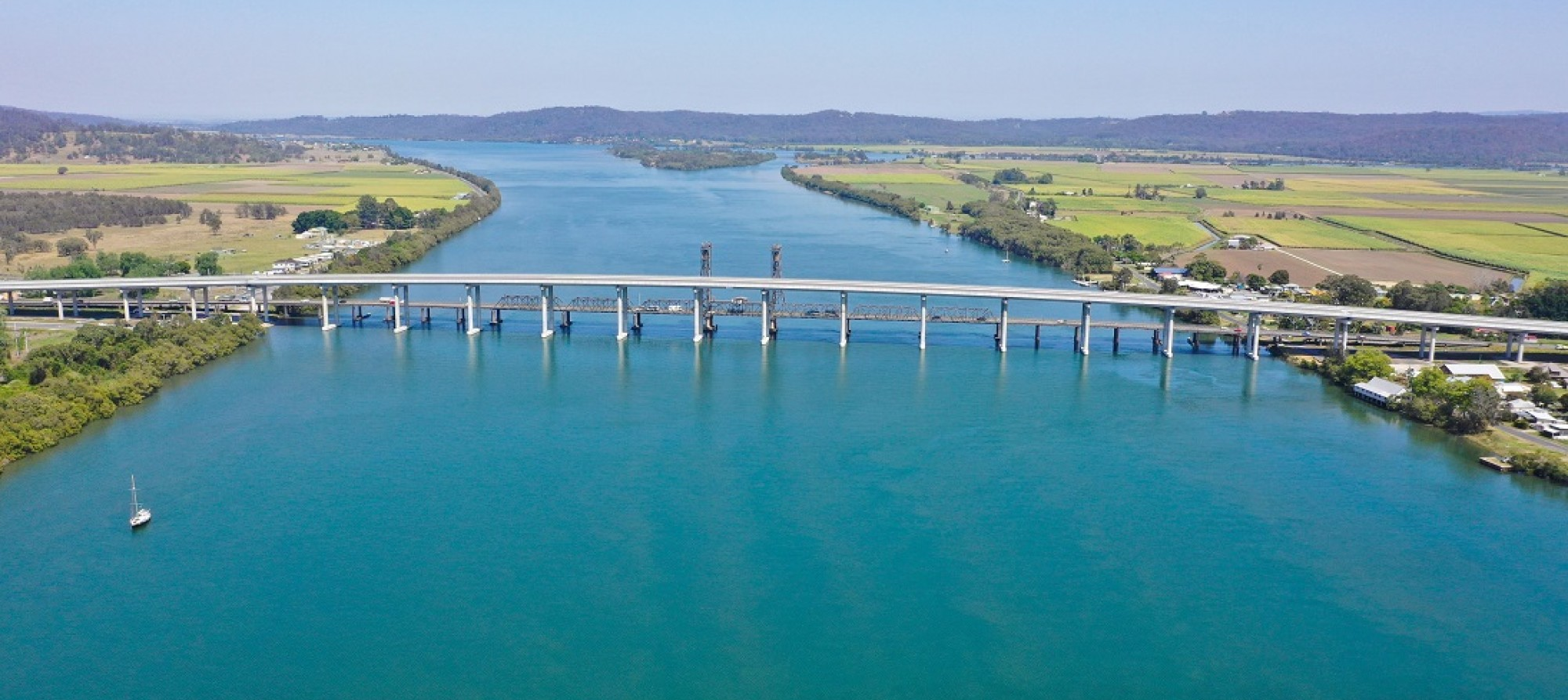 Aerial image of bridge over the Clarence River at Harwood