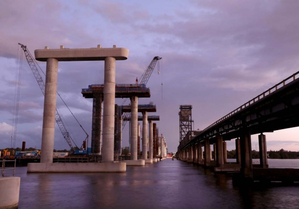 Construction of the new bridge over the Clarence River at Harwood at sunset