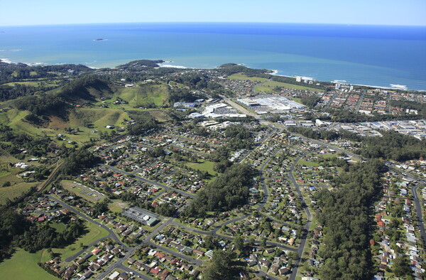 Coffs Harbour bypass project - aerial view of Coffs Harbour