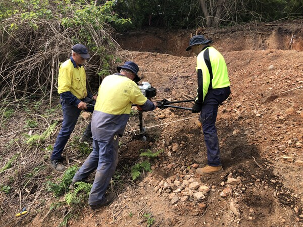 Geotech digging as part of the Coffs Harbour bypass project