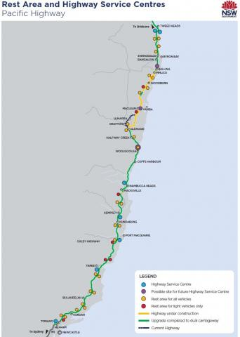 Australia And Pacific Map.Highway Service Centres Pacific Highway Upgrade