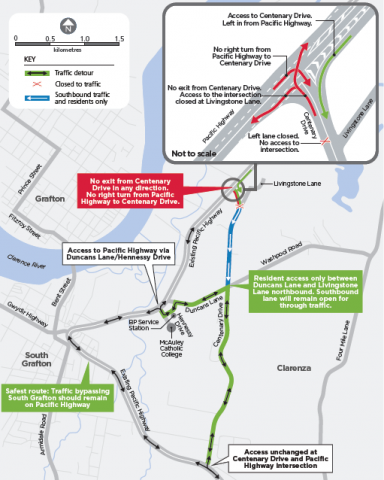 Map showing access changes at Centenary Drive, Clarenza