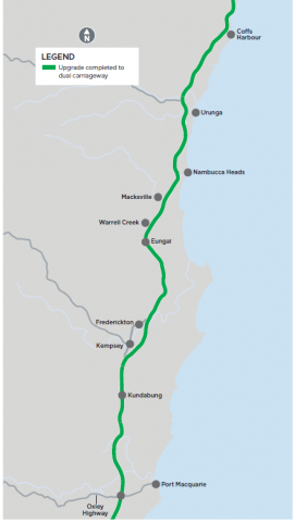 Port Macquarie to Coffs Harbour map image